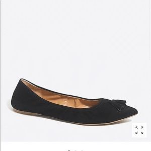 J crew black pointed toe flats with tassel size 9